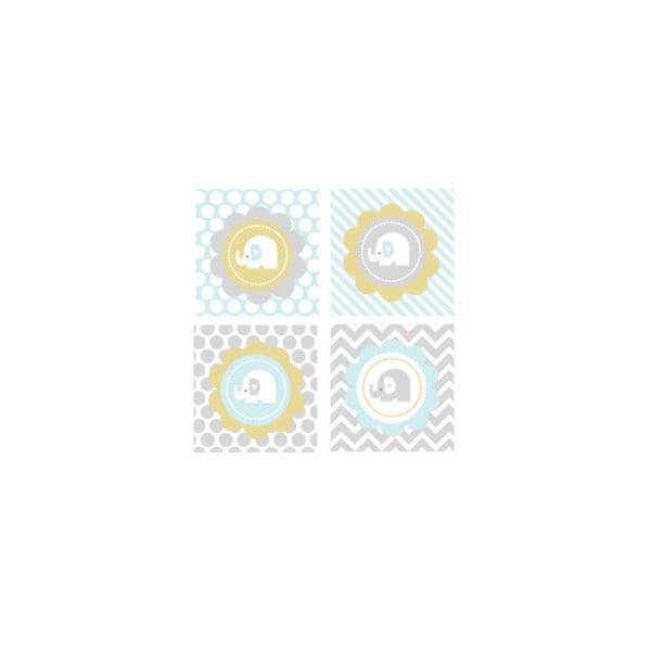 EB3005BEL-Blue Elephant Decorative Favor Tags Set Of 20