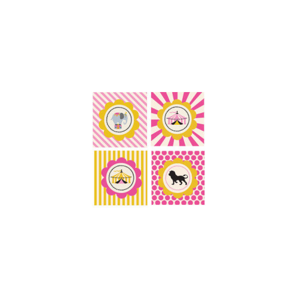 EB3005PKC-Pink Circus Party Decorative Favor Tags Set Of 20