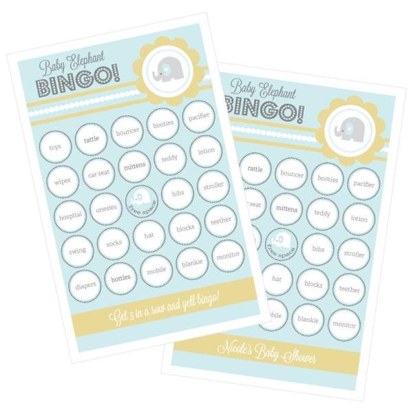 EB3021BEL-Blue Elephant Bingo Set Of 16