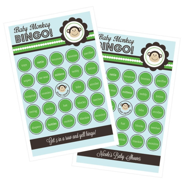 EB3021BM-Blue Monkey Party Bingo Set Of 16