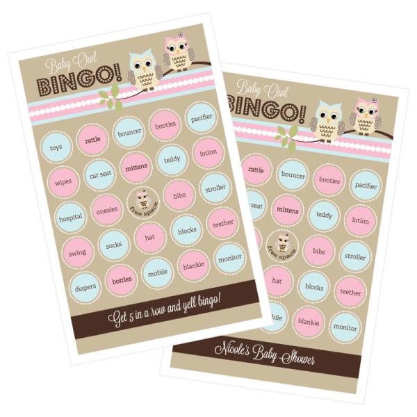 EB3021WOL-Woodland Owl Bingo Set Of 16