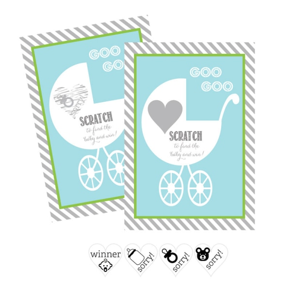 EB3022BB-Blue Baby Carriage Scratch Off Game Cards Set Of 12