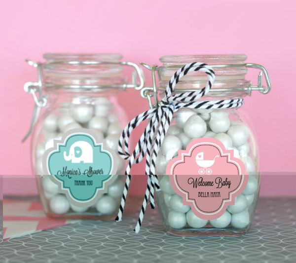 EB3024MDB-Personalized Mod Pattern Baby Shower Glass Jar With Swing Top Lid Small