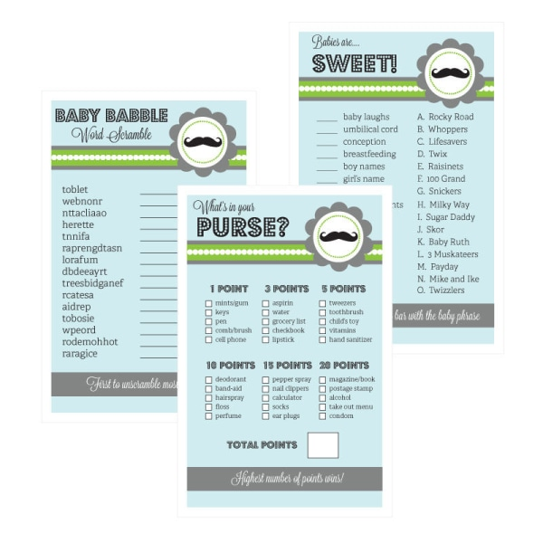 EB3027LM-Baby Shower Games Set Of 10 Little Man
