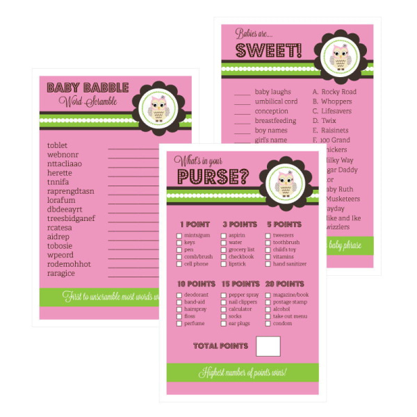 EB3027PWL-Baby Shower Games Set Of 10