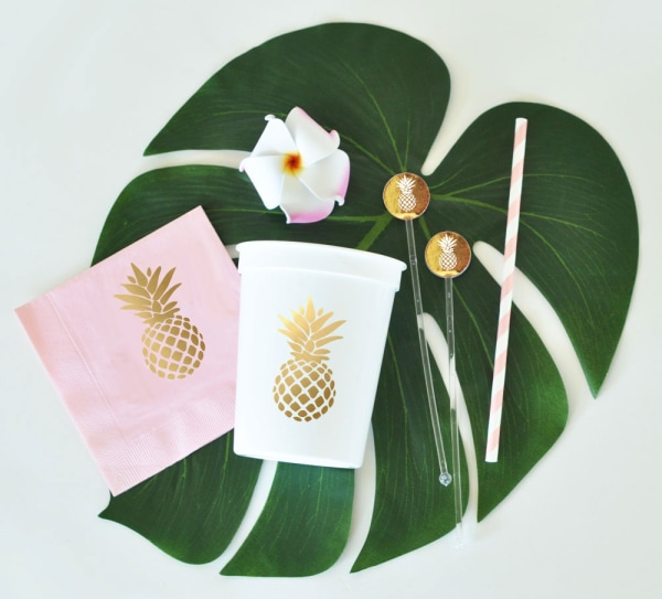 EB3104PN-Pineapple Party Cups Set Of 25