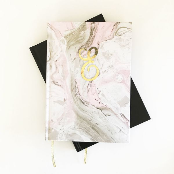 EB3191PMB-Script Monogram Pink Marble Journals