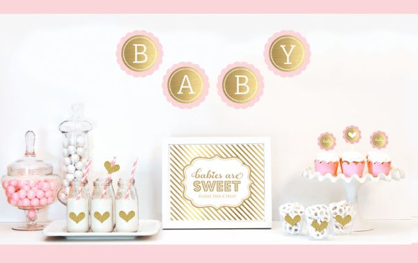 EB4011BS-Gold & Glitter Baby Shower Decor Kit