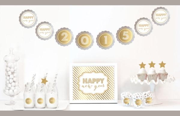 EB4011NY-Gold & Glitter New Years Party Decor Kit