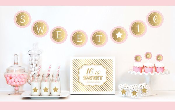 EB4011SS-Gold & Glitter Sweet Sixteen Party Kit