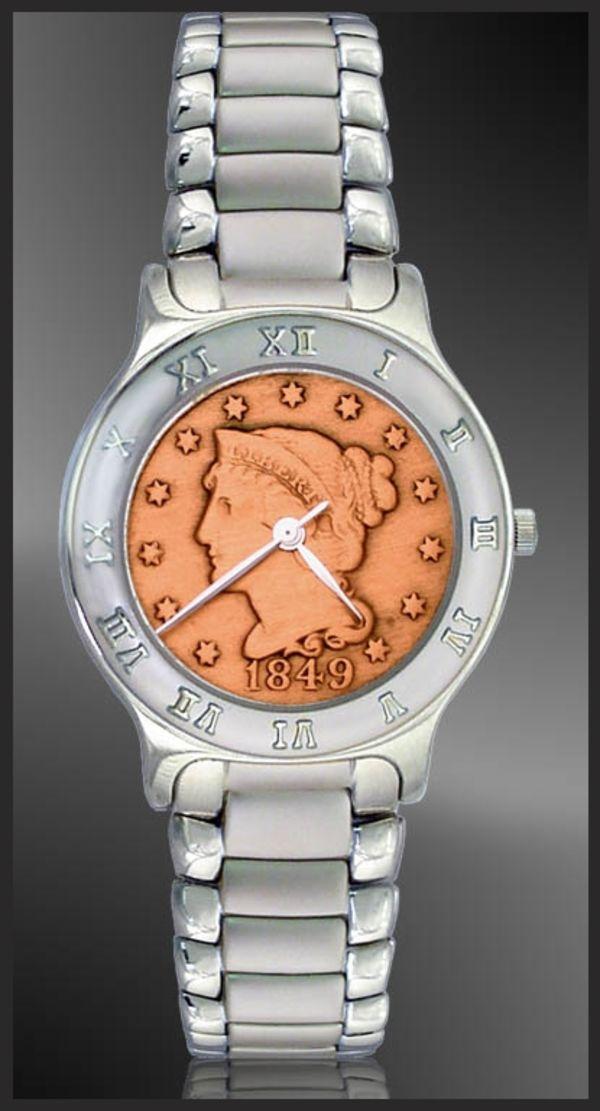 R111-LP9-1 Large Cent Mens Bracelet Coin Watch