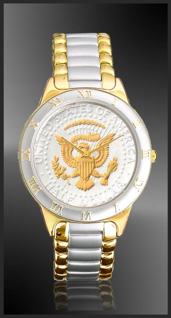 R323-PS2-L2 Presidential Seal Half Dollar Ladies Bracelet Coin Watch