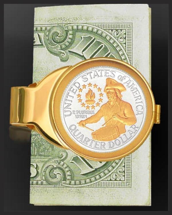 C303-QDR2 Bicentennial Drummer Quarter Goldtone Gold Plated Money Clip
