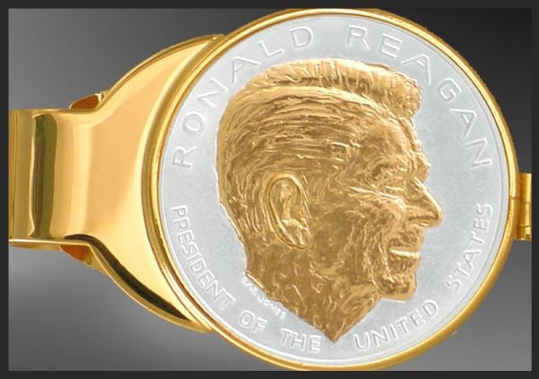 C333-PRR12 Ronald Reagan Gold Plated Money Clip