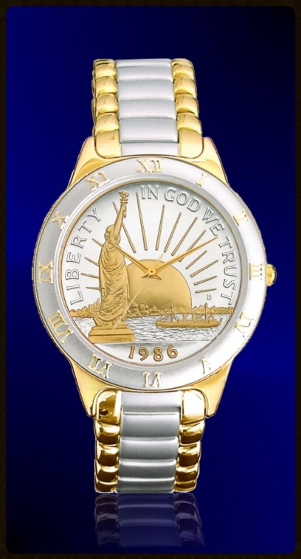 R323-NSL2-L2 Statue of Liberty Half Dollar Ladies Bracelet Coin Watch