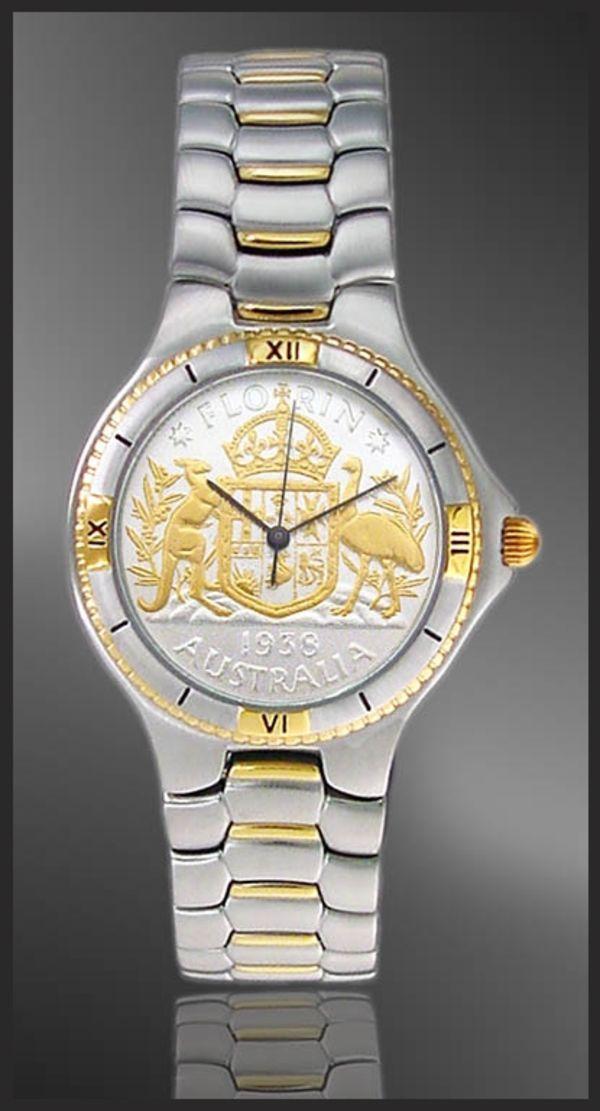 UC125-MFL2-2 Coinwatch Brand Australian Florin Mens Bracelet Coin Watch