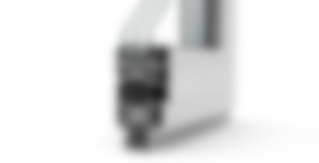 Produktvisualisierung - Schnittperspektive Fensterprofil - vor weißem Hintergrund