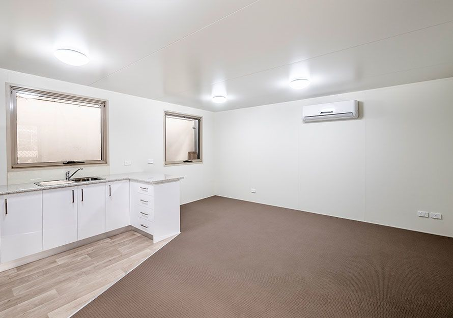 Inside elpor's granny flat with white walls