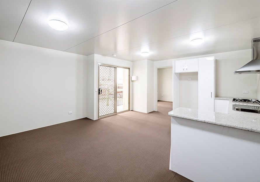 Elpor inside of a granny flat, living room and kitchen