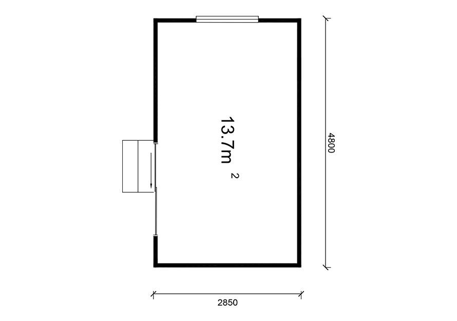 4.8 X 2.85 Sleepout building plan