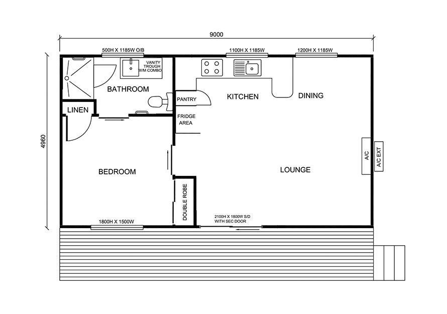 9.0m X 5.0m One Bedroom Granny Flat Design