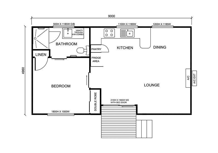 9.0m X 5.0m One Bedroom 1 Granny Flat Design