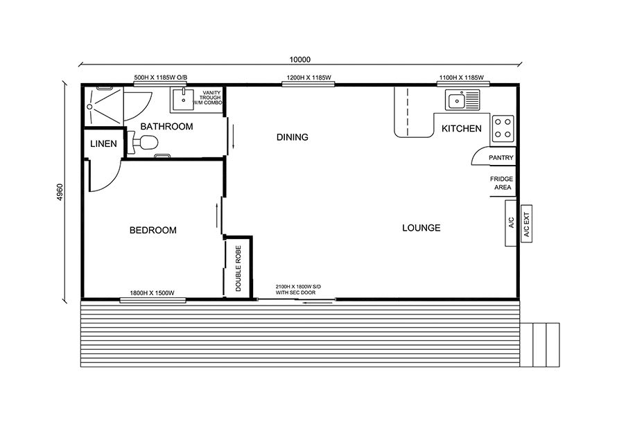 self contained one bedroom granny flat design