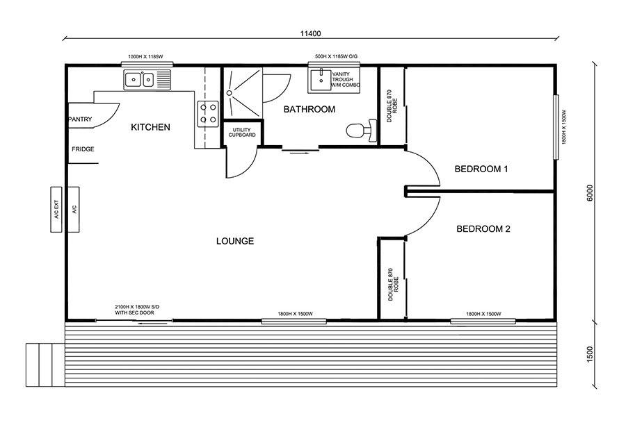 two bedroom granny flat floor plan