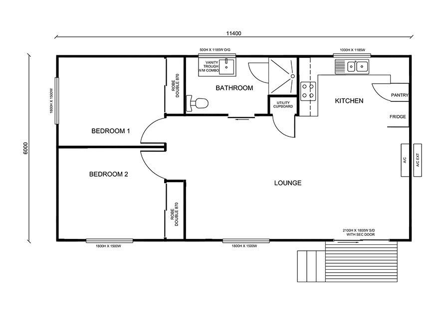 spacious 2 bedroom granny flat design