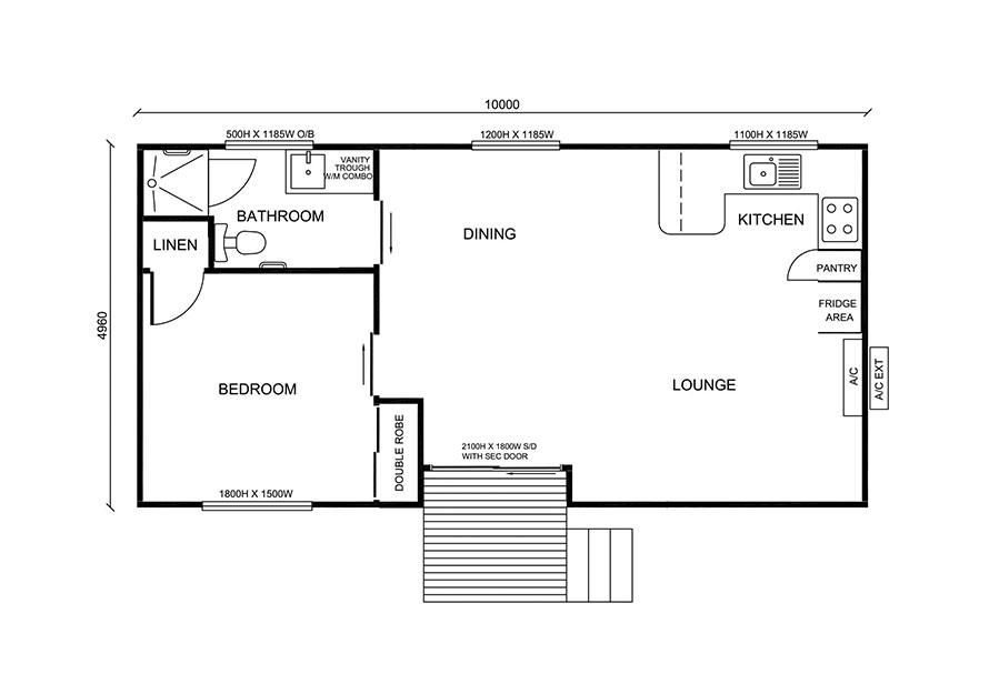 One bedroom granny flat design
