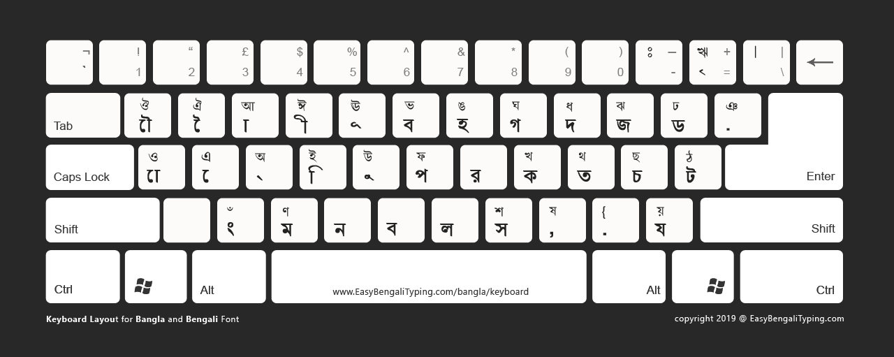 Unicode Bangla keyboard in a dark background theme. High contrast.