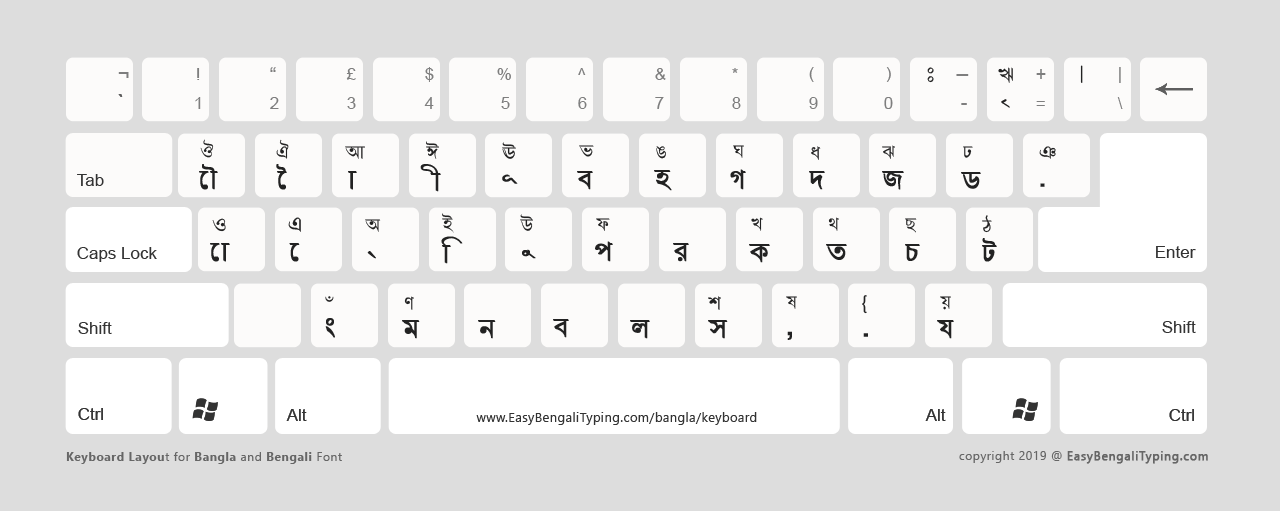 Unicode Bangla keyboard in a light background theme ideal for printing.
