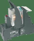 PIR4-012AC-00LV m/mek.ind.. test-/sperreknapp. varistor. LED. kompl. sokkel