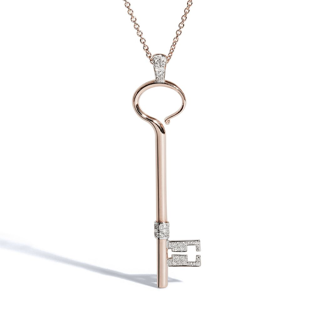 Rose Gold Key with White Diamonds