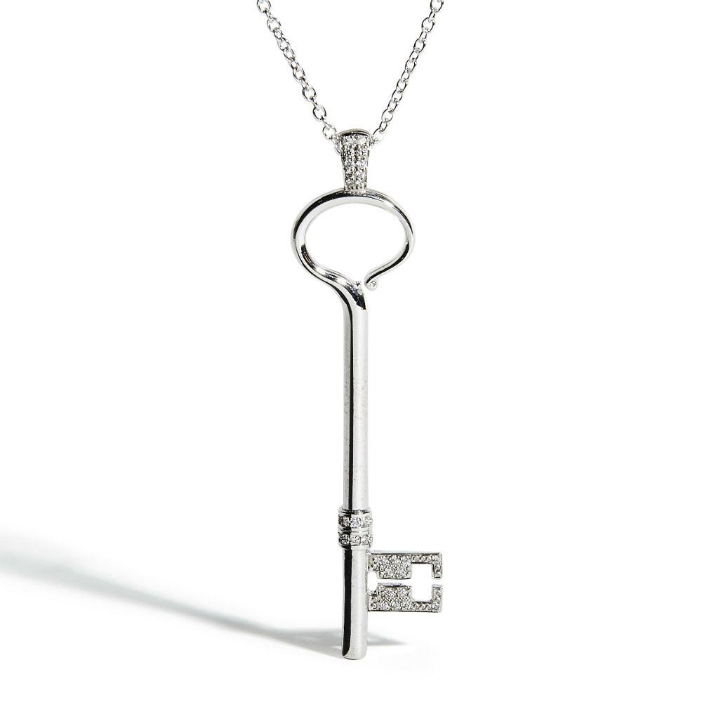 White Gold Key with White Diamonds