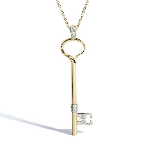 Yellow Gold Key with White Diamonds