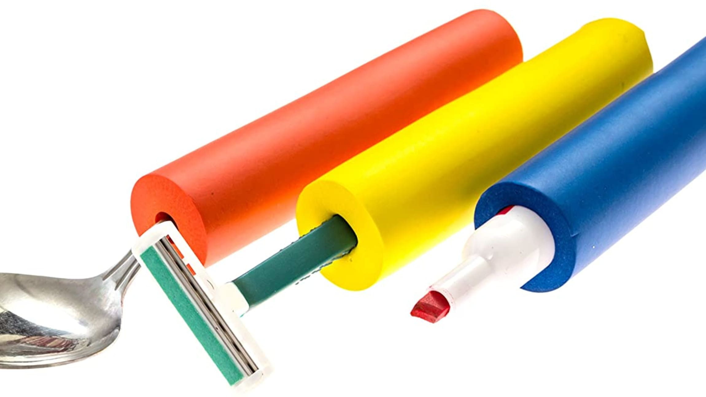 Picture showing different uses of foam tubing. Red tubing holding a spoon, yellow tubing holding a razor, and blue tubing holding dry erase marker.