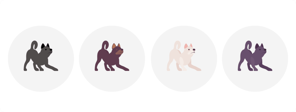 Illustrated puppies with different color coats