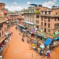 A city street in Bhaktapur, Nepal