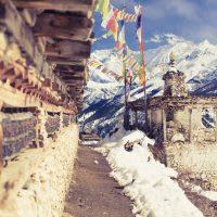 Prayer wheels in high Himalaya Mountains, Nepal village.