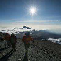 Hikers making their way up Mt. Kilimanjaro