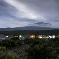 Tents below Mt. Kilimanjaro.