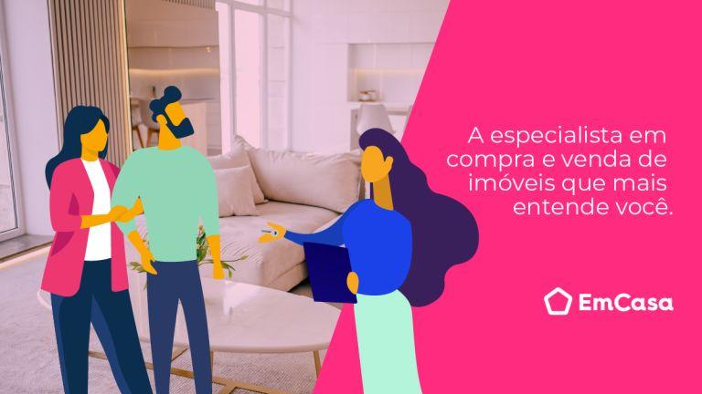 Imagem de uma sala clara, com uma faixa rosa, um casal de bonecos ilustrativos com uma especialista de vendas ilustrada também.
