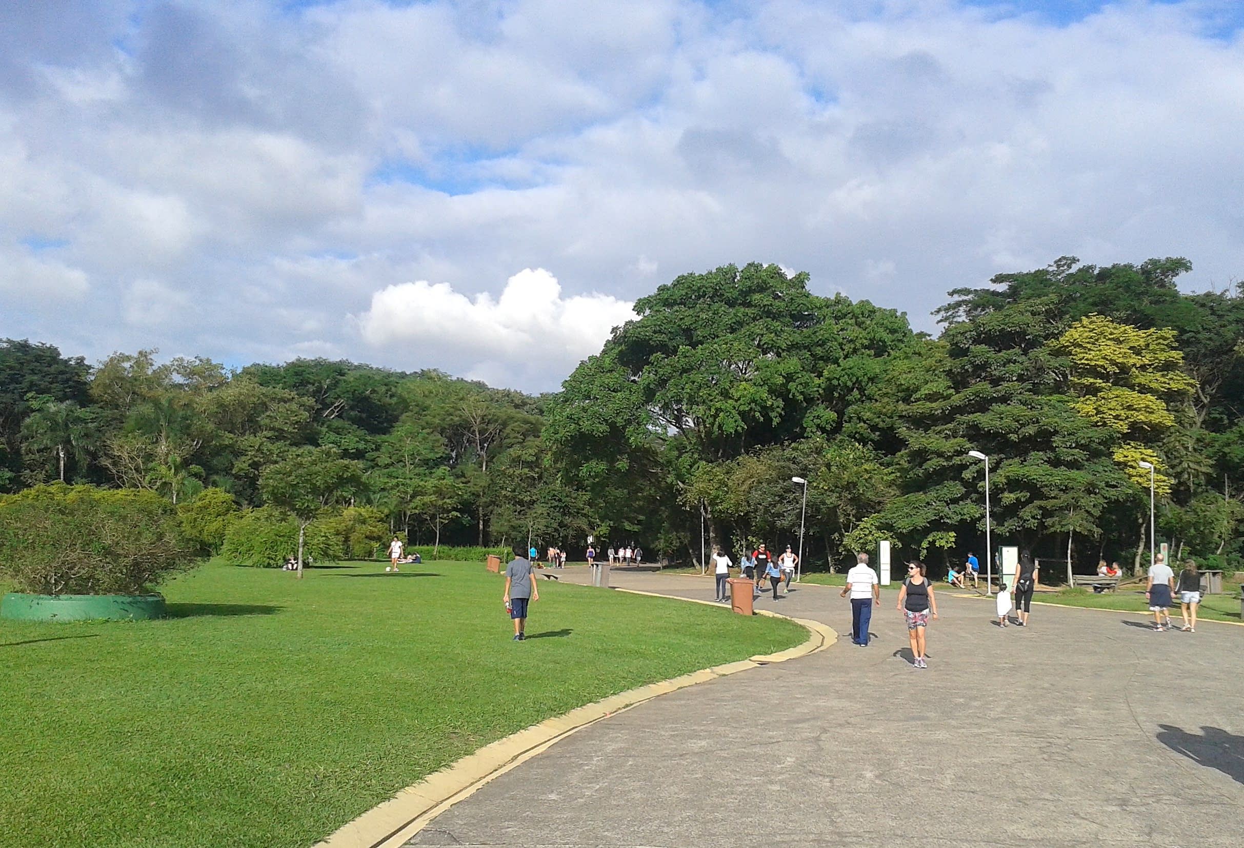 Pessoas caminhando e andando de bicicletas em caminho pavimentado e entre árvores, dentro de um parque