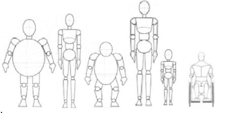 Imagem com 6 bonecos de diferentes esterotipos como: alto, magro, gordo, baixo e cadeirante.