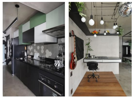 Duas imagens, do lado esquerdo uma cozinha nas cores preta, verde claro e branca. Aparece também uma geladeira cinza, uma bancada preta e uma chaleira preta e branca. Na imagem a direita, um mesa de trabalho com uma cadeira, as paredes são cinzas, com algumas plantas e uma guitarra.