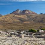 Village of Tahua in front of the Tunupa volcano, Altiplano, Bolivia South America