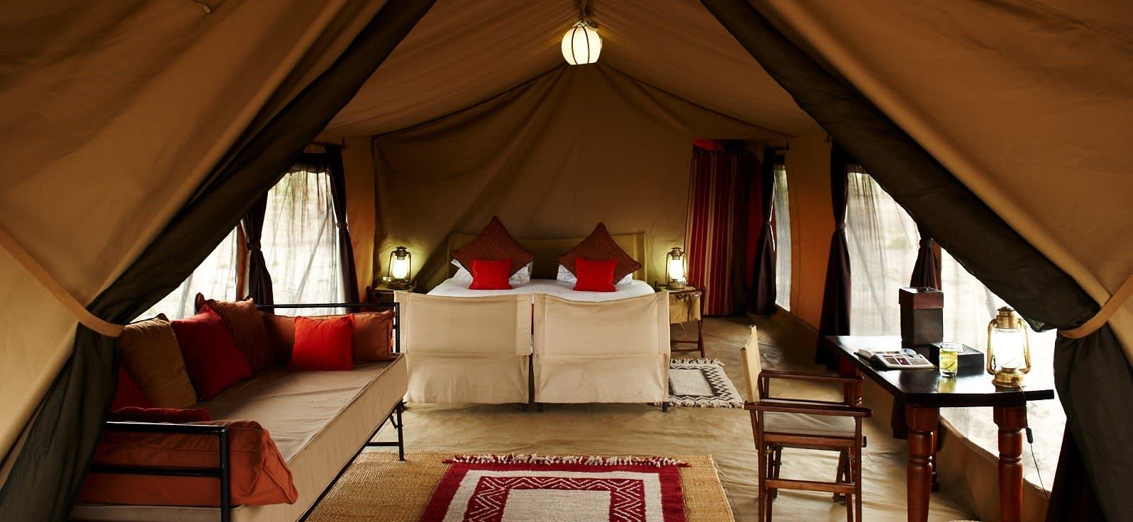 Inneneinrichtung eines Safari Zelts