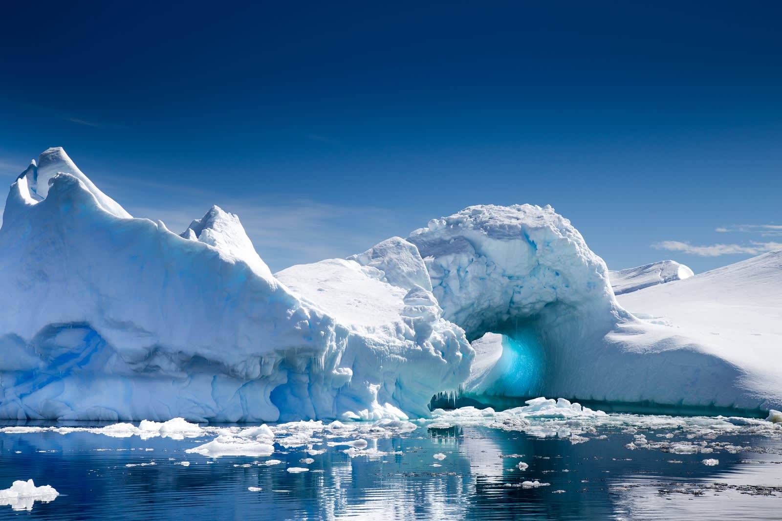 Antarctica is known for its spectacular icebergs