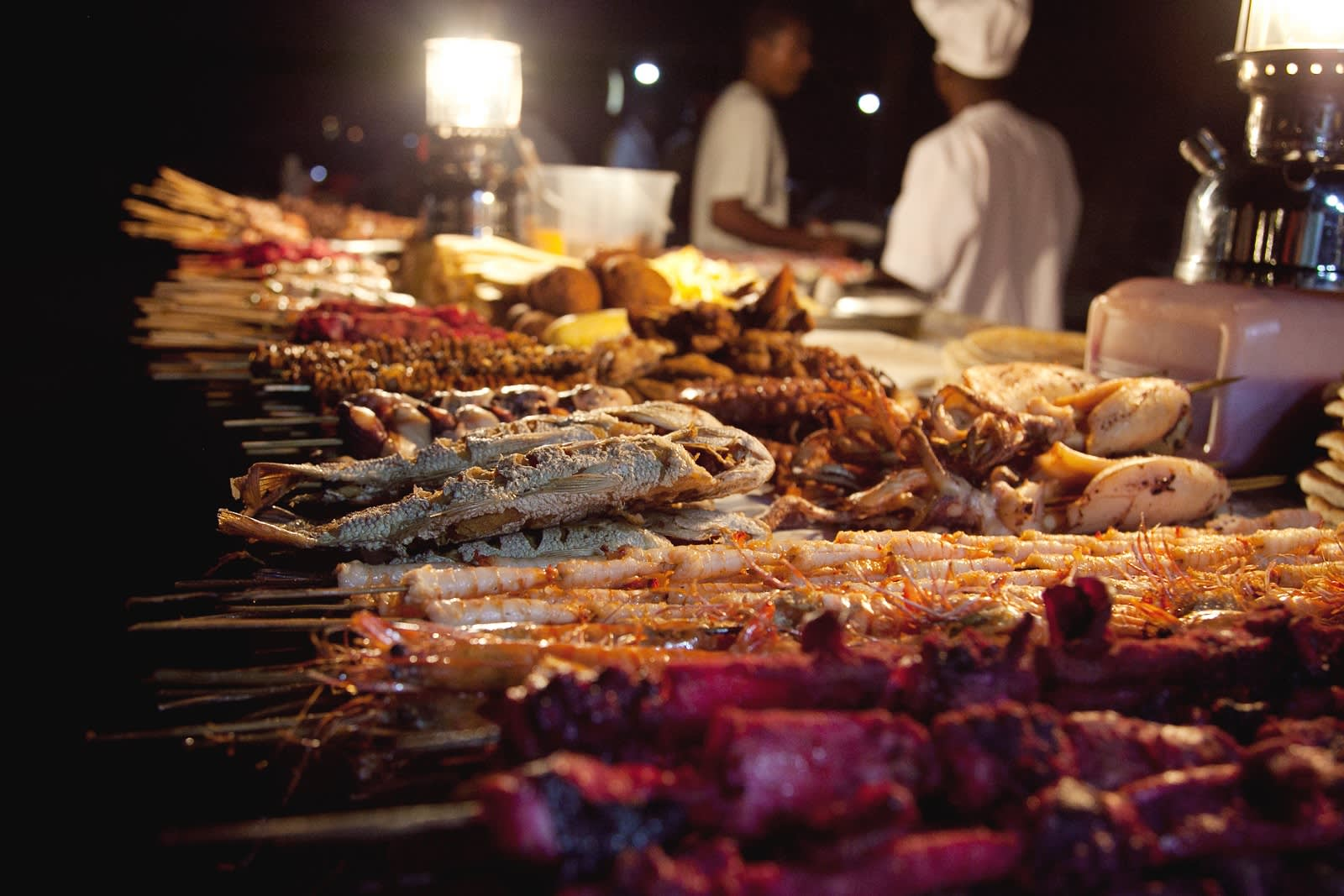 Evening street food market at Stone Town
